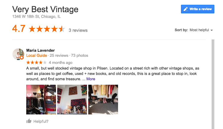 Very Best Vintage Google Review