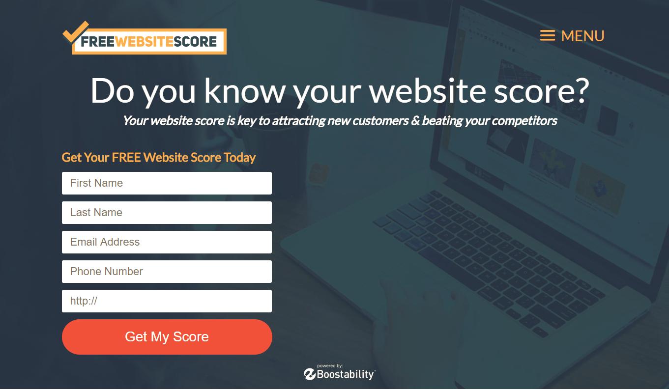 free website score landing page example