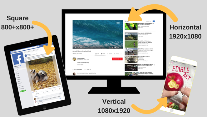 Illustration of video size graphics on Facebook, Instagram stories and YouTube. Text overlay reads Square 800+x800+ (pointing to Facebook), Horizontal 19020x1080 (pointing to YouTube), and Vertical 1080x1920 (pointing to Instagram Stories).