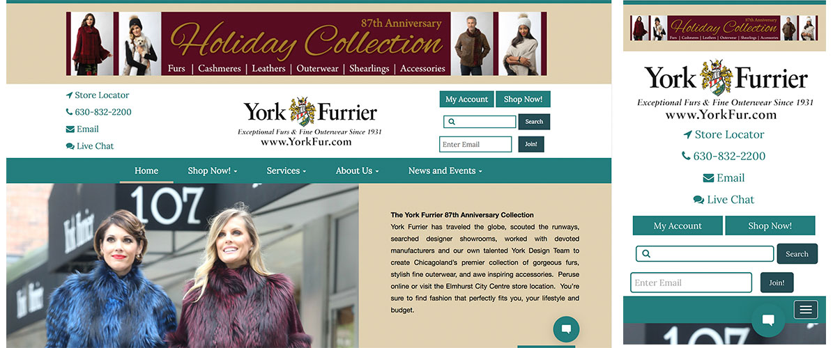 York Furrier Responsive Website Example