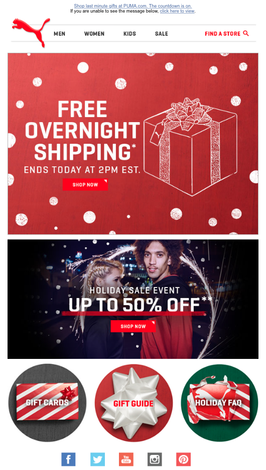Holiday Email Puma