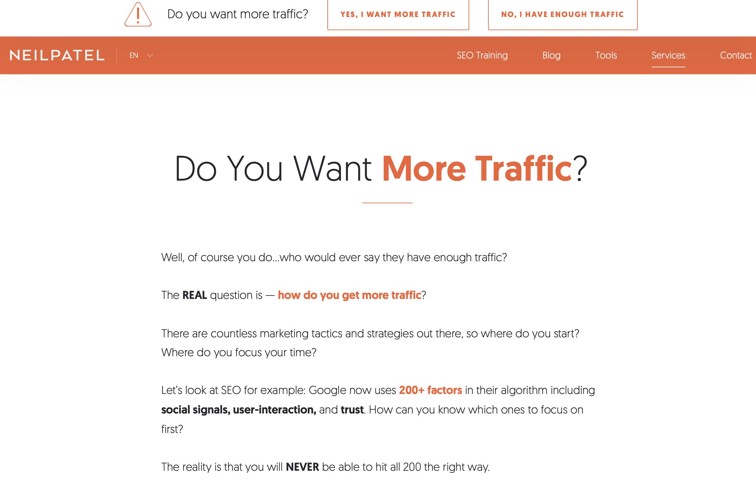 Neil Patel Website Example