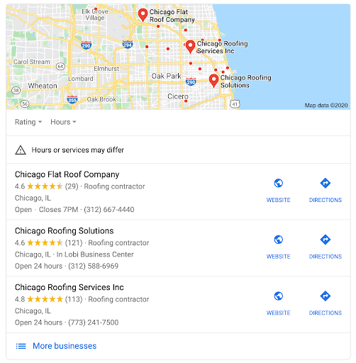 An example screenshot of Google's local listing results