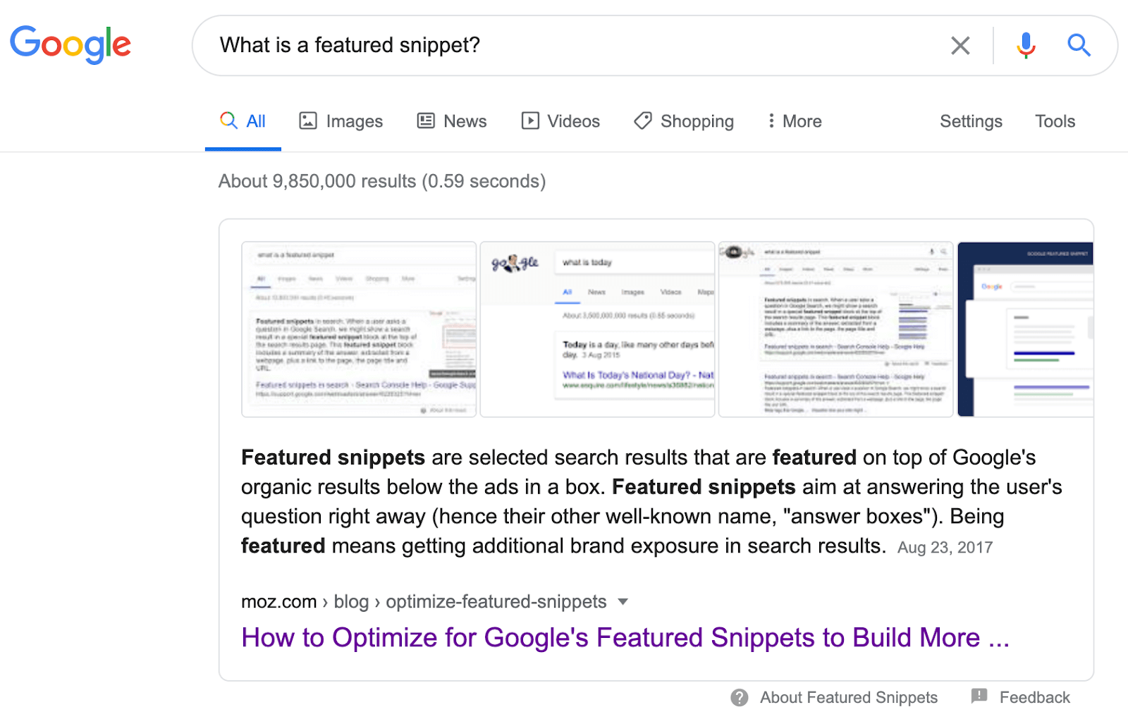 "A screenshot containing the text, ""Featured snippets are selected search results that are featured on top of Google's organic results below the ads in a box. Featured snippets aim at answering the user's question right away (hence their other well-known name, ""answer boxes""). Being featured means getting additional brand exposure in search results."""