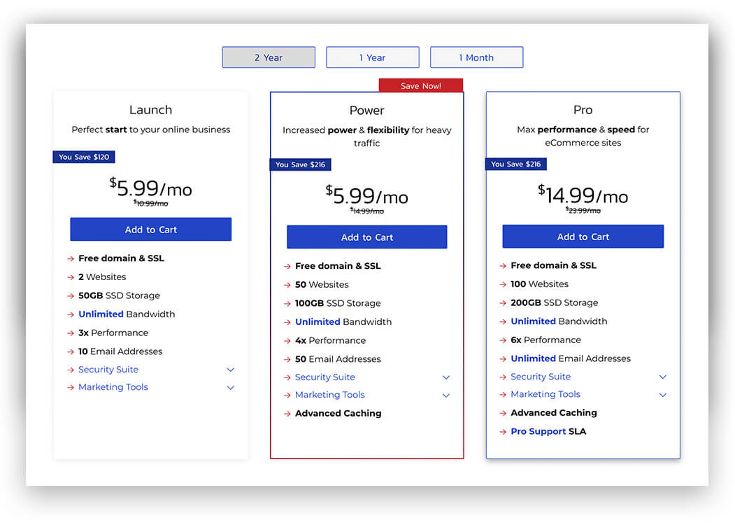 Inmotion Pricing Table
