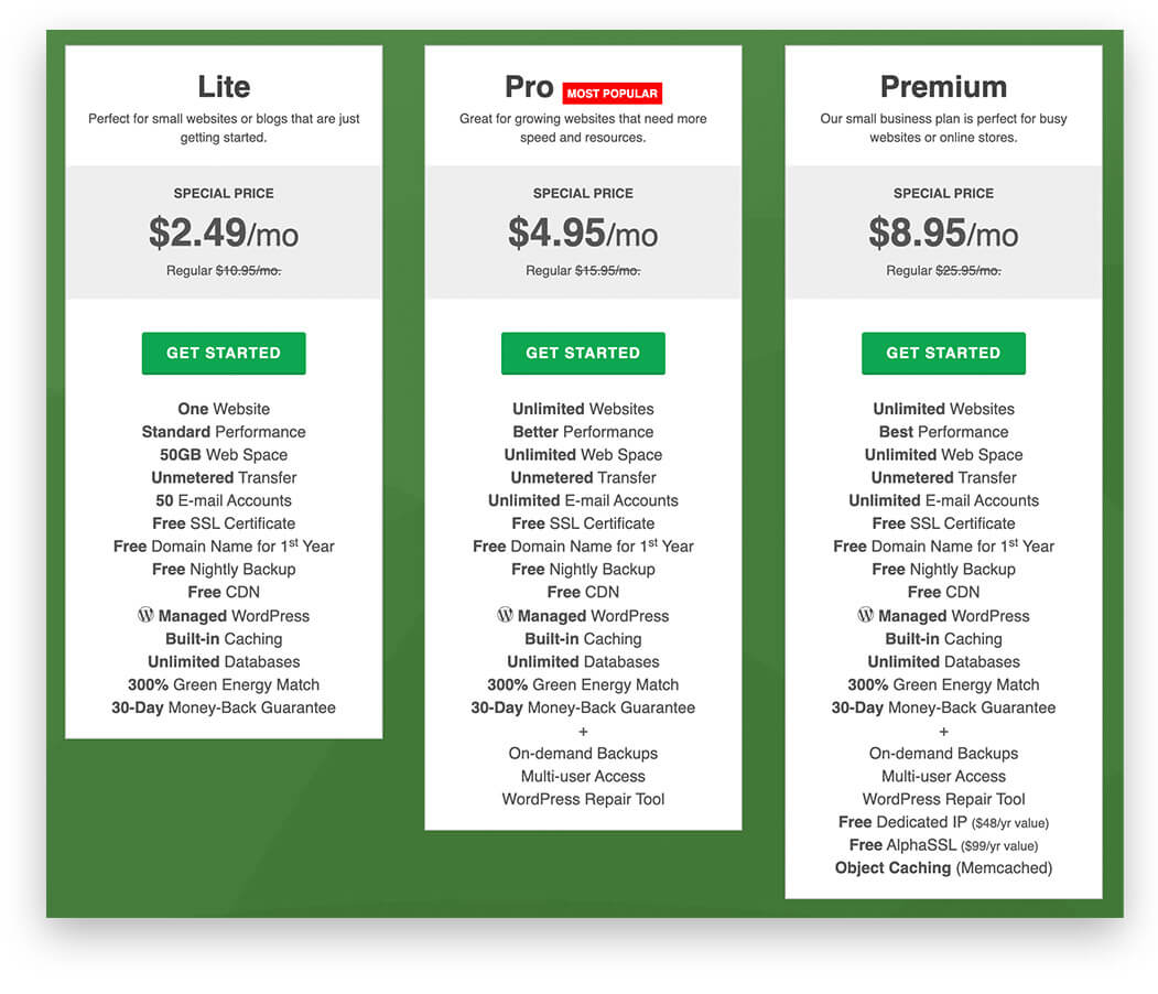 Green Geeks Pricing Table